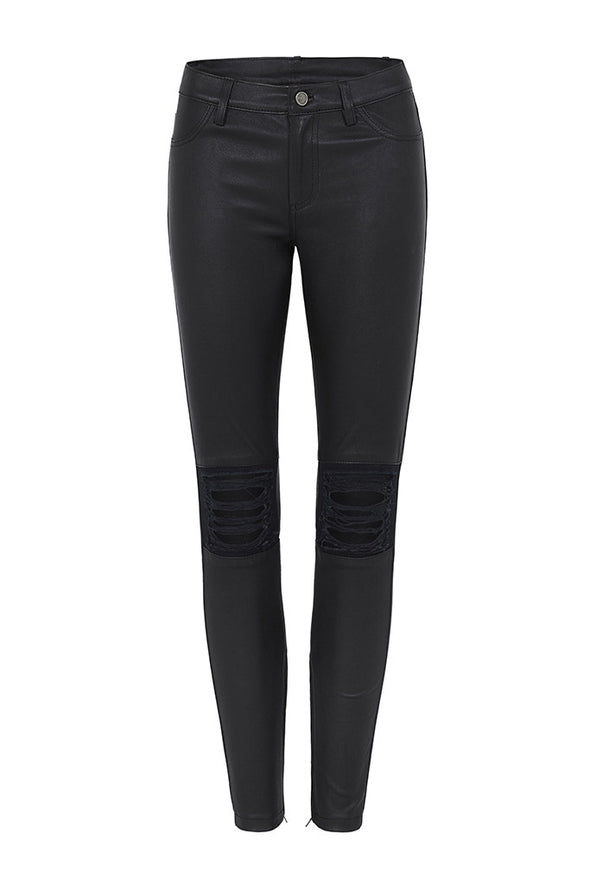 Houston Ripped Leggings in Black Stretch Leather