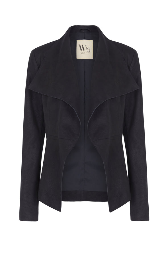 Isabella Drape Jacket Distressed Midnight Navy Leather