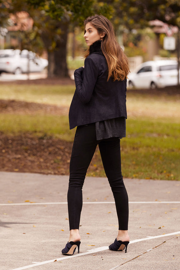West Broadway Legging Black Suede Stretch Leather