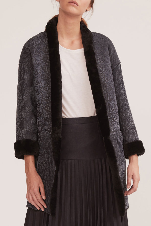 Columbus Shawl Coat Reversible Textured Navy Shearling