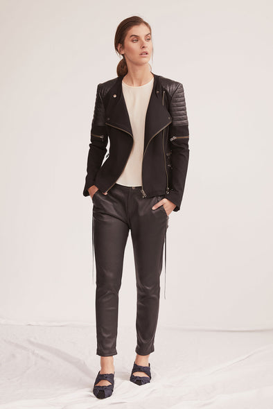Greenwich St Motor Jacket in Italian Ponte & Black Leather