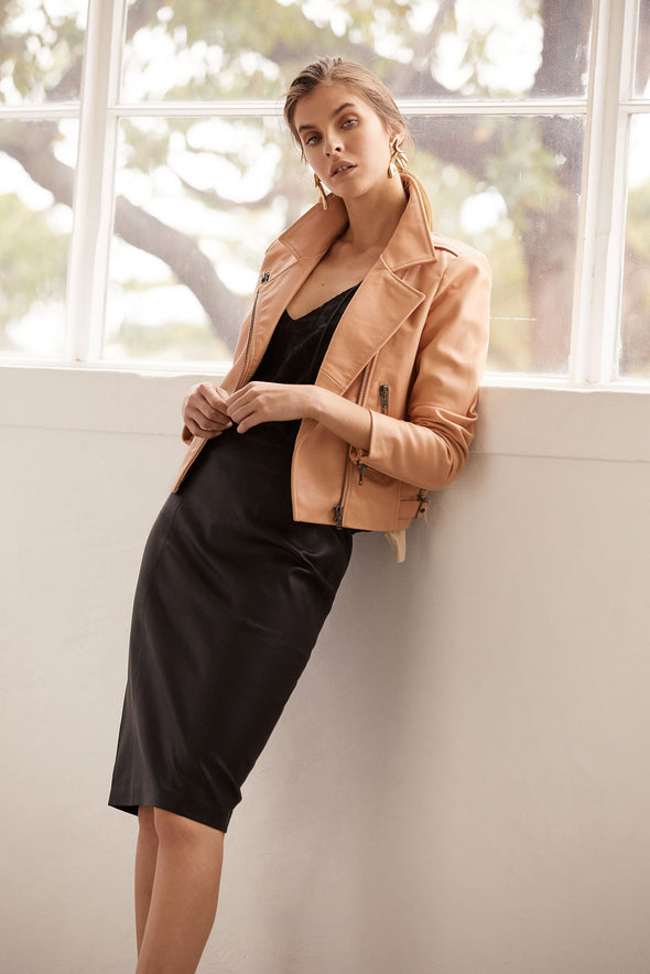 The Americano Pencil Skirt in Black Stretch Leather