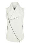 Nolita Drape Vest White Leather