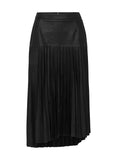 Park Avenue Pleated Skirt Black Leather