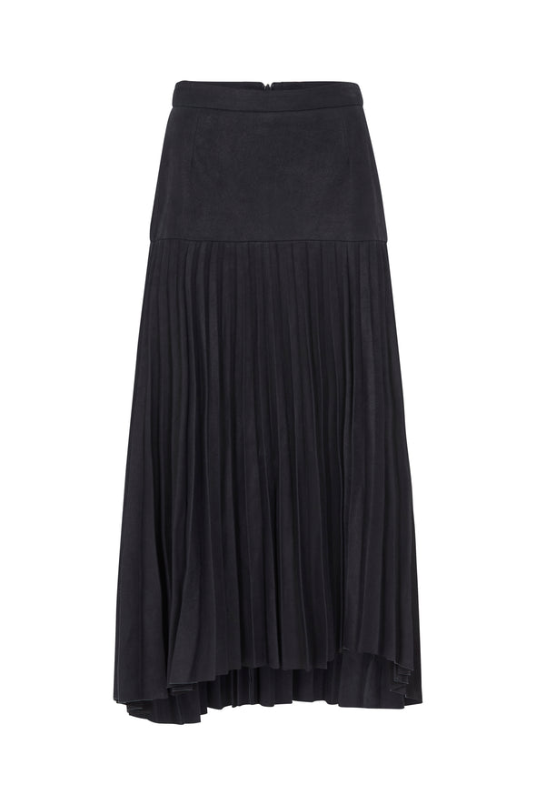 Park Avenue Pleated Skirt Midnight Navy Leather