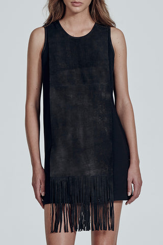 Queens Fringe Dress in Dirt Black Leather & Italian Ponti