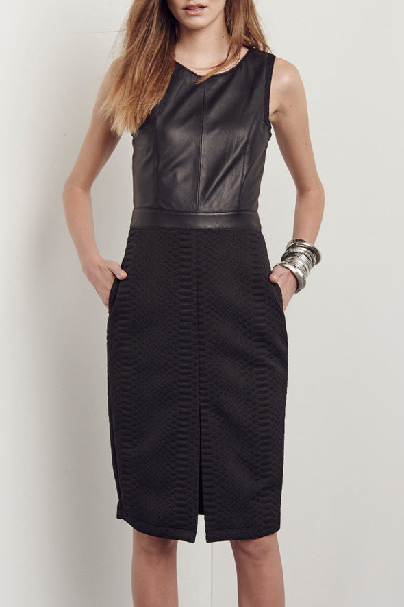Audrey Dress in Snake Jacquard & Black Leather - SAMPLE