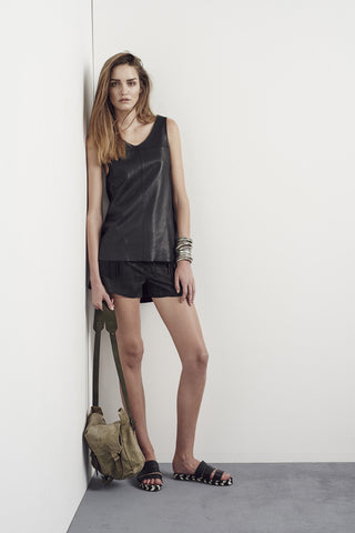 Bedford Leather Tank Black