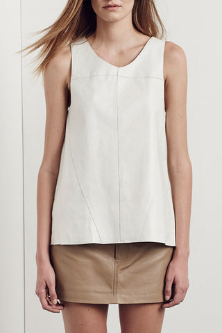 Bedford Leather Tank Cloud White