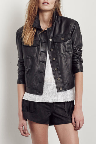 Brooklyn Denim Jacket in Black Leather