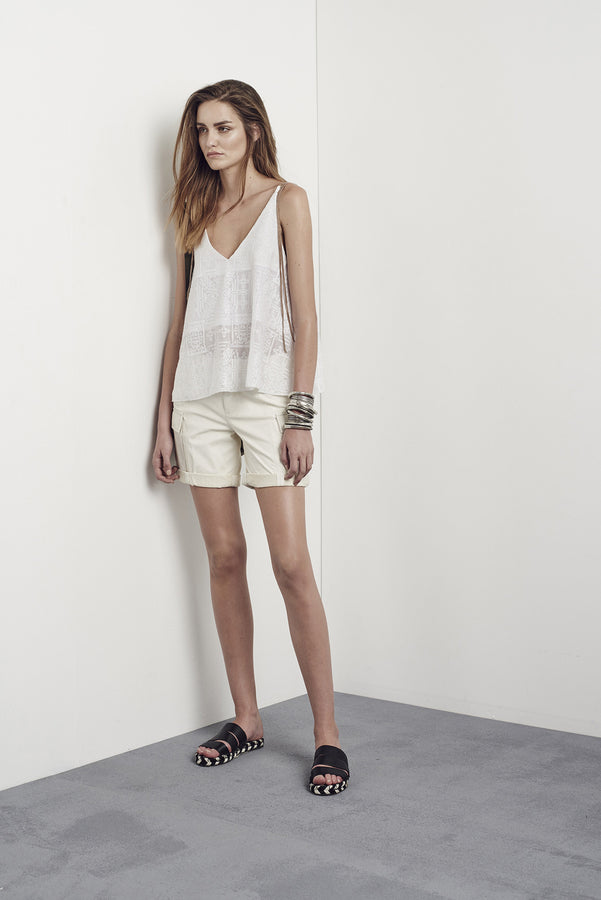 Curlewis Embroidered Top Cabana White & Sun Kissed Leather