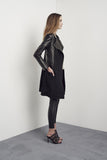 Greenwich Long Drape Coat in Black Wool & Leather