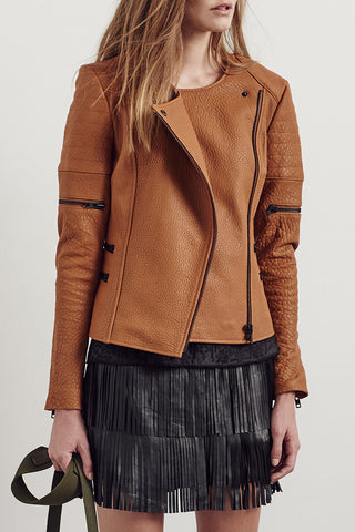 Greenwich Street Motor Jacket Hazelnut Leather