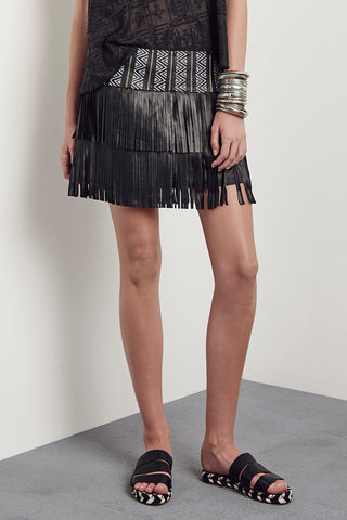 Henderson Fringe Skirt Black Leather