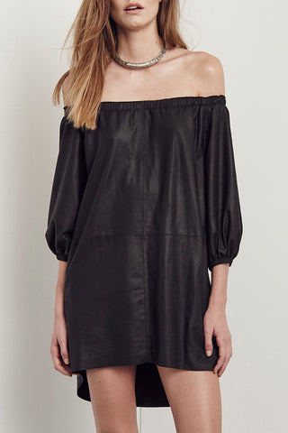 Jacques Off The Shoulder Dress Black Leather