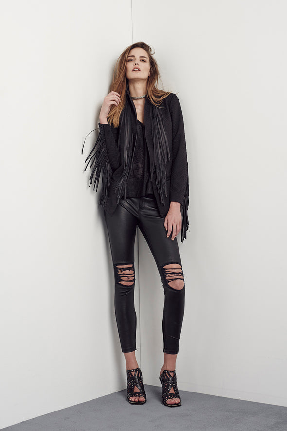 Madison Fringe Blazer Black - SAMPLE