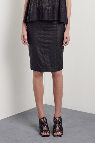 The Americano Quilted Pencil Skirt in Black Leather