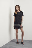 Yve Fringe Dress Black Leather