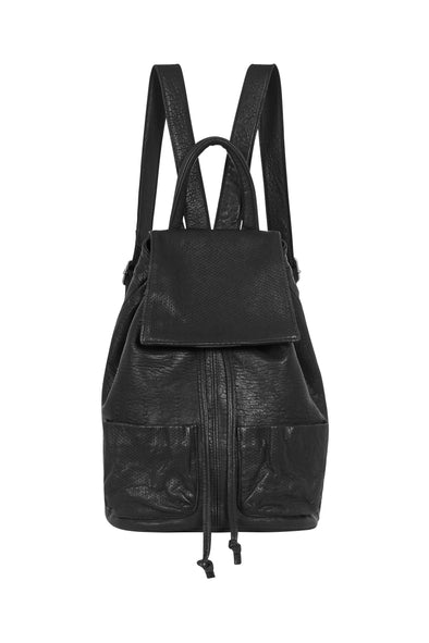 Seventh Avenue Backpack Black Bubble Leather