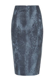 The Americano Pencil Skirt in Blue Coyote Stretch Leather