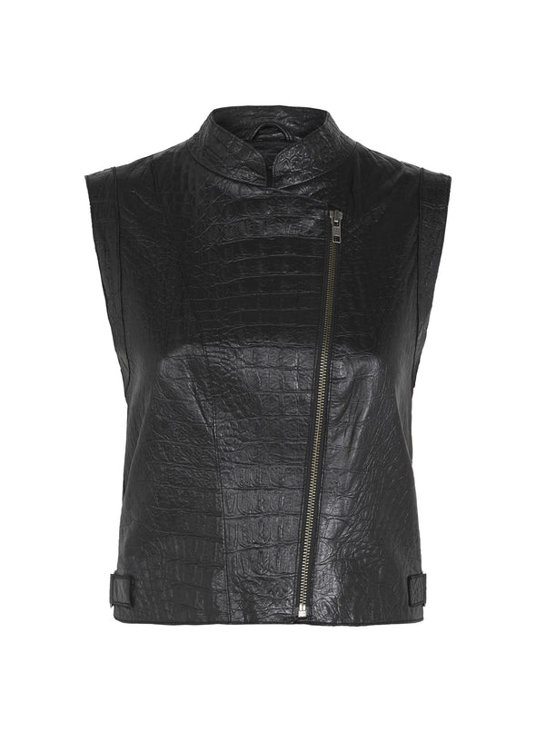 Thompson Gilet in Embossed Croc Black Leather