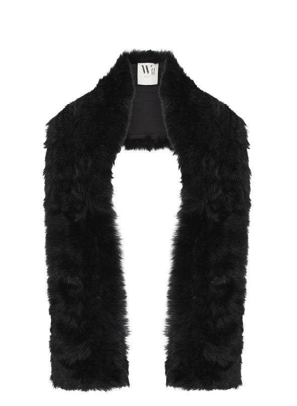 Upper West Scarf in Italian Long Hair Black Shearling