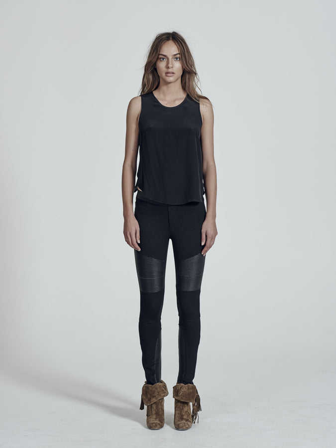 Broadway Legging in Italian Ponti & Black Leather