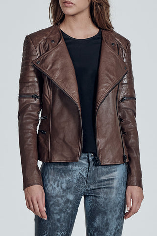 Greenwich Street Motor Jacket in Barren Brown Leather