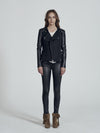 Greenwich St Motor Jacket in Black Wool & Black Leather