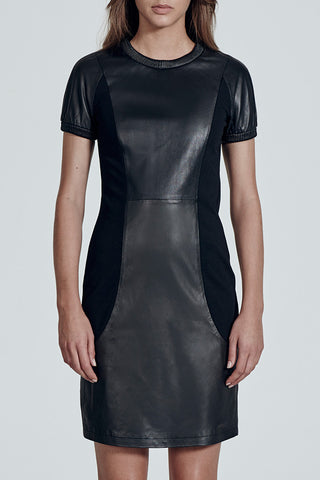 The Hearst Building Short Sleeve Black Leather Dress & Ponti