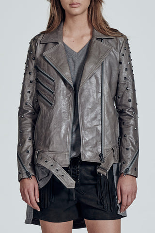 Ludlow Motor Jacket in Midnight Dust Leather with Studs