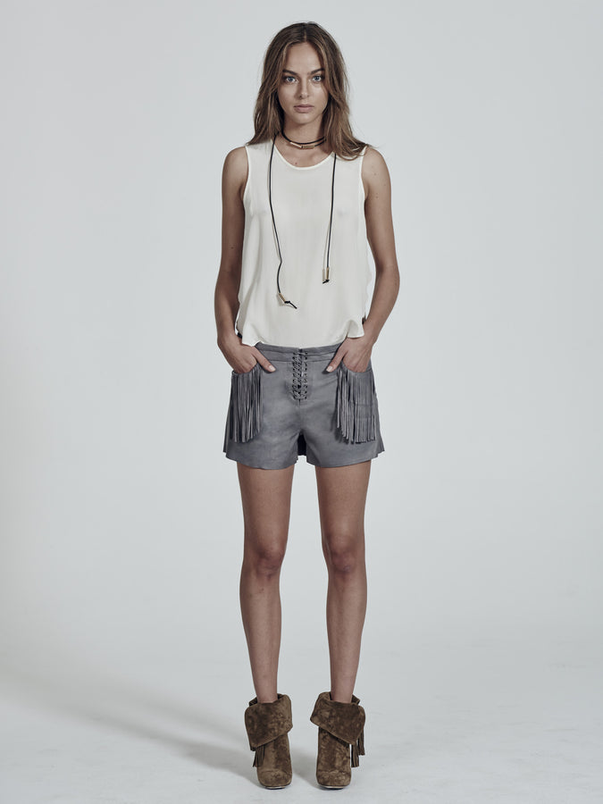 NoHo Fringe Shorts in Desert Moon Grey Leather