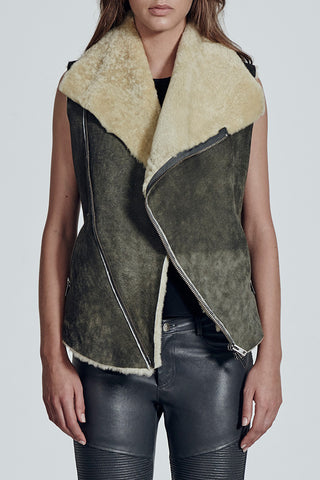 Nolita Drape Vest Distressed Grey Shearling