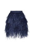 Yvette Skirt in Blueberry Ostrich Feathers