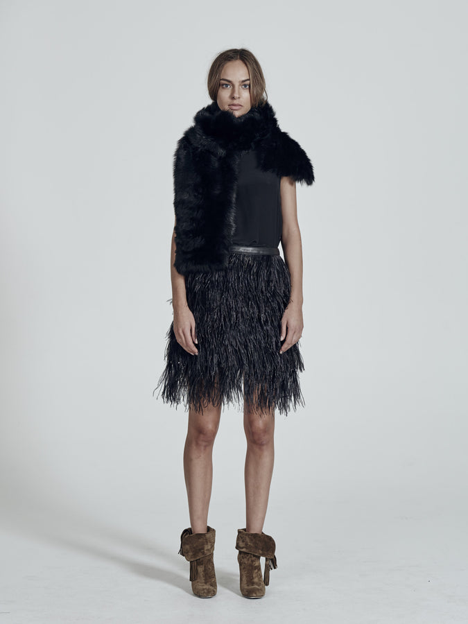 Yvette Skirt in Black Ostrich Feathers
