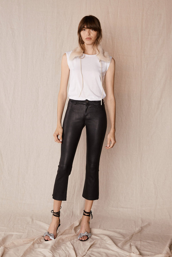 MidTown Fit & Flare Pant Black Stretch Leather