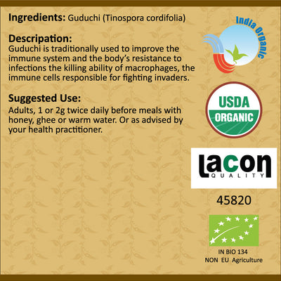 Organic Guduchi Powder for Immunity, Hay Fever, Allergic Rhinitis - 100 Grams