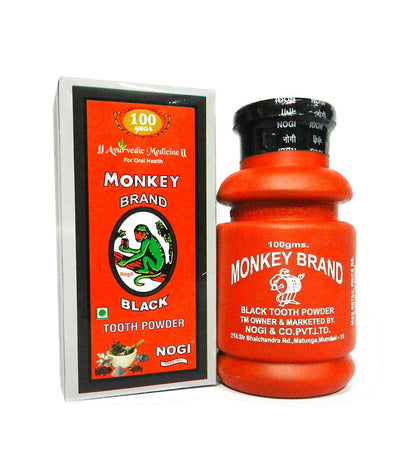 Ayurvedic Monkey Brand Black Tooth Powder for Complete Oral Health - 12 Packs (100gms)