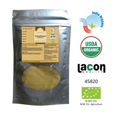 Organic Punarnava Powder for Gout, Kidney, Urinary Tract Infections - 100 Grams