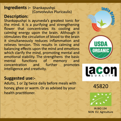 Organic Shankhpushpi Powder for Brain Tissue and Intellect - 100 gms