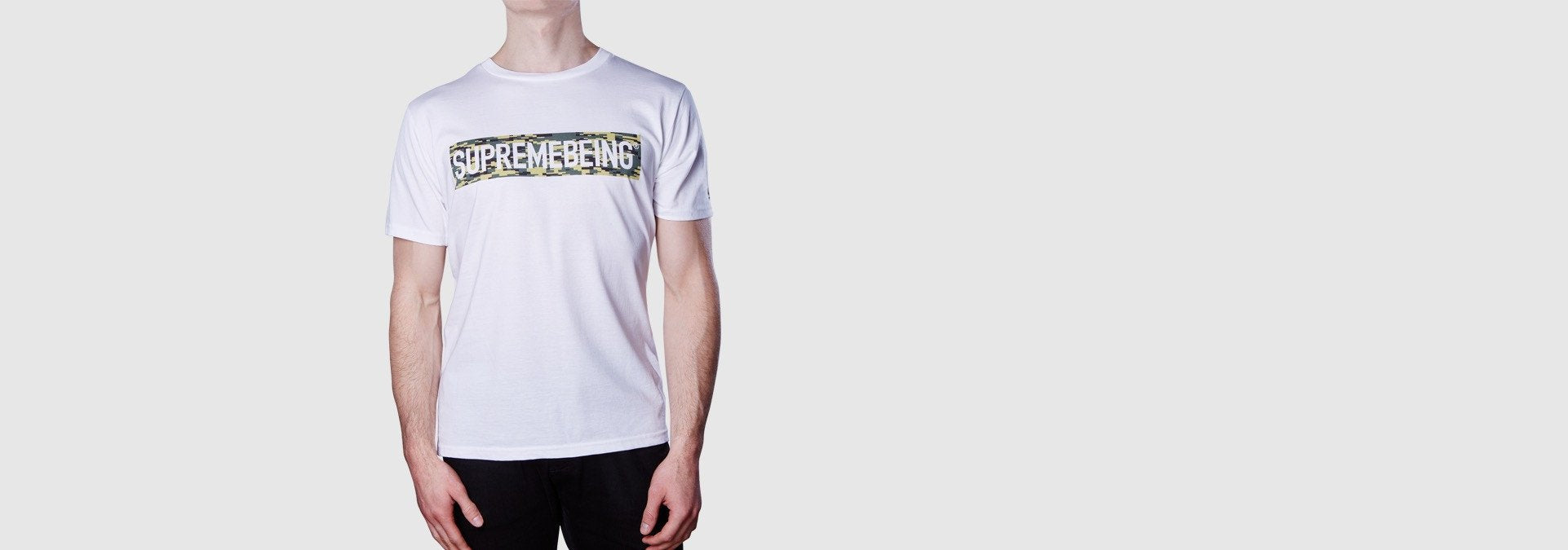 Supremebeing Camouflage Background Organic Cotton T-Shirt White