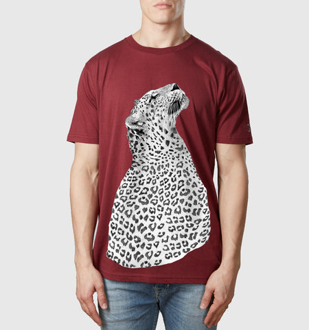 Leopard Organic Cotton T-Shirt Burgundy