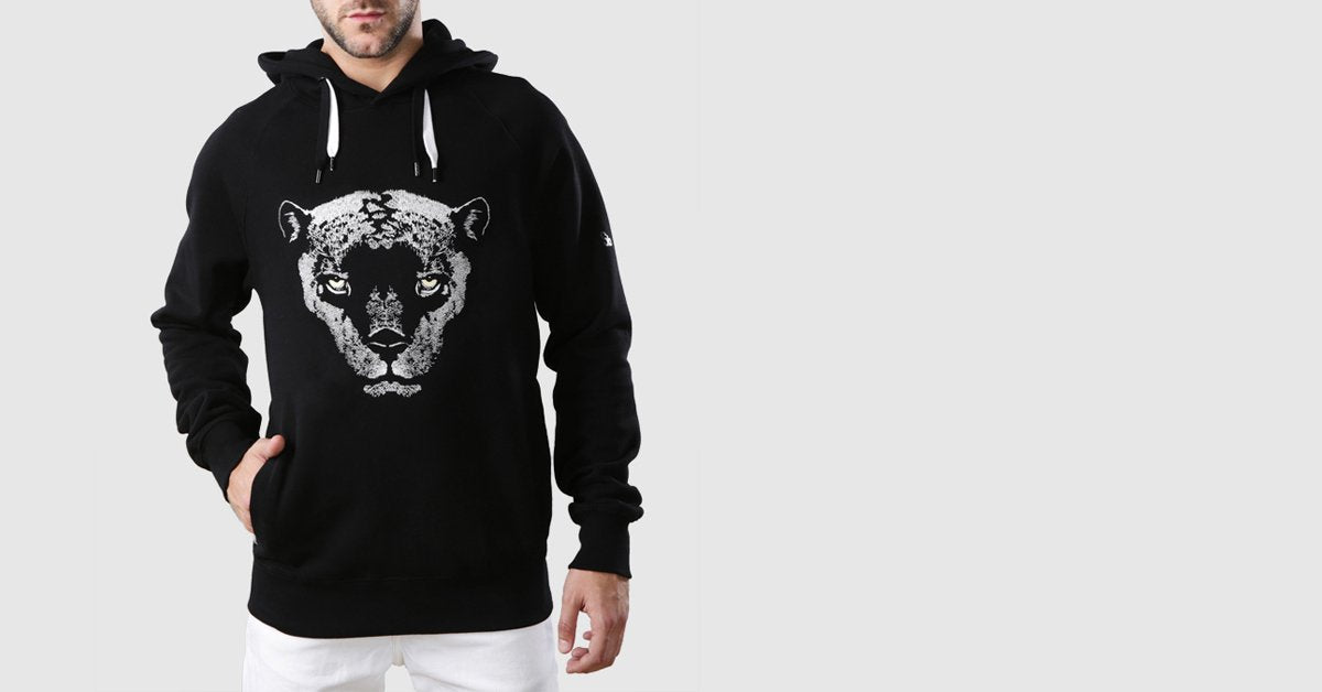 Panther Organic Cotton Hoodie Black