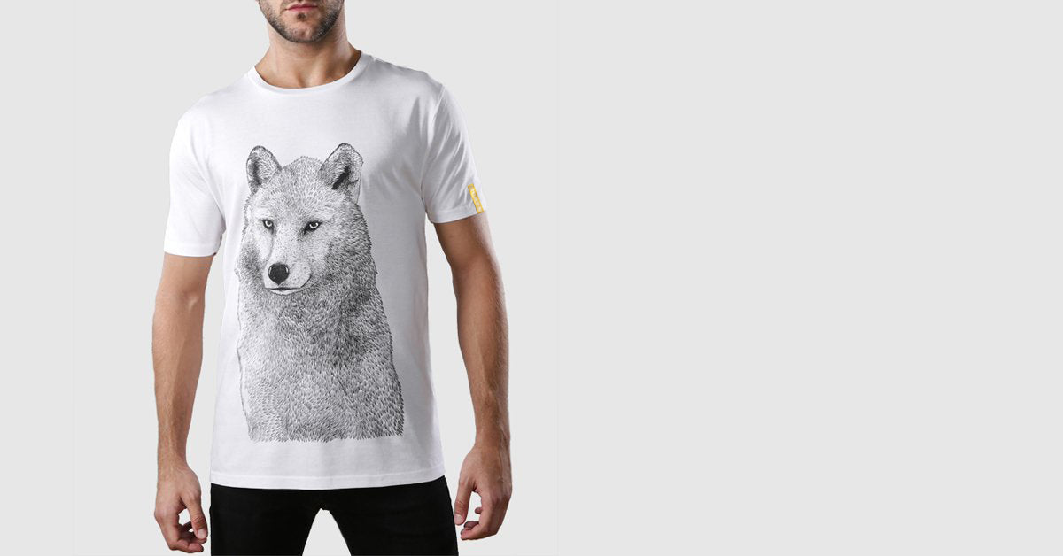 Grey Wolf Organic Cotton T-Shirt White