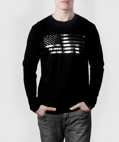 US Flag L/S T-Shirt Black