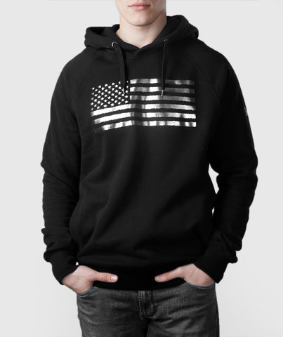 US Flag Organic Cotton Hoodie Black