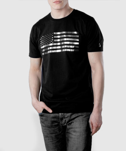 US Flag Organic Cotton T-Shirt Black