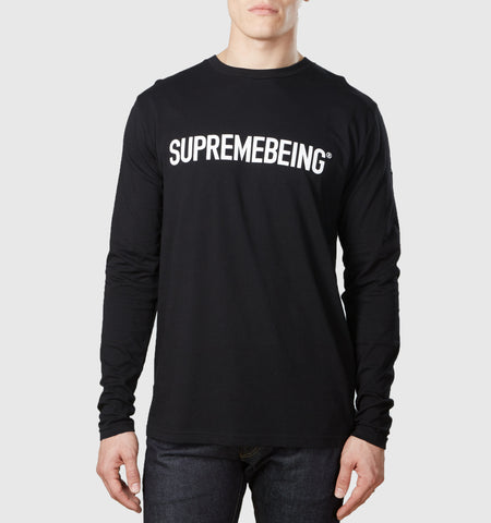 Supremebeing Logo Organic Cotton L/S T-Shirt Black