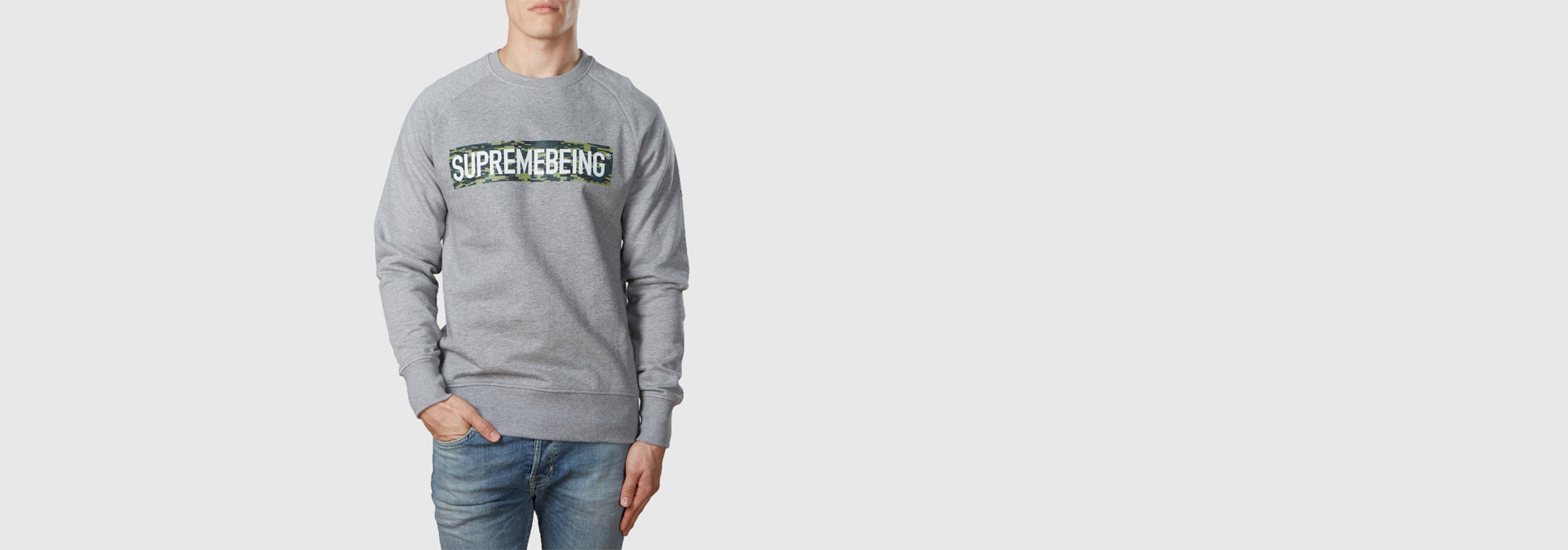 Supremebeing Camouflage Background Organic Cotton Sweat Light Heather