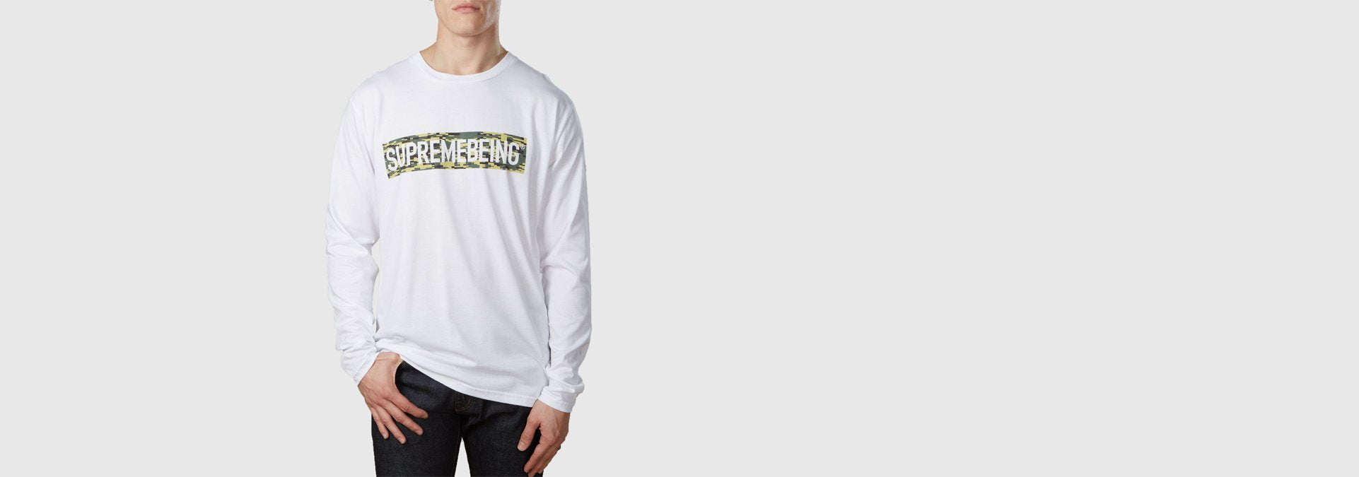 Supremebeing Camouflage Background L/S T-Shirt White